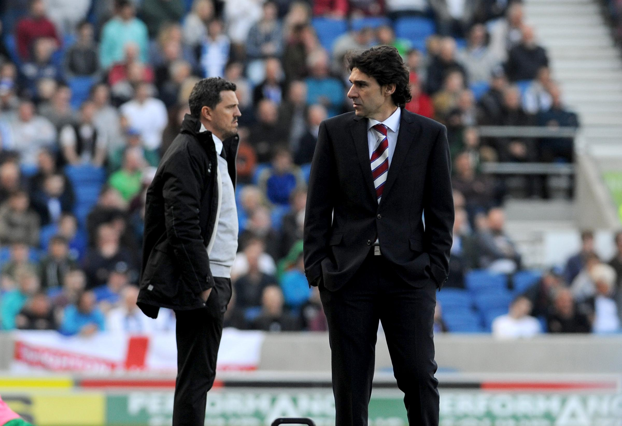 Oscar Garcia on the touchline with opposite number Aitor Karanka on Saturday