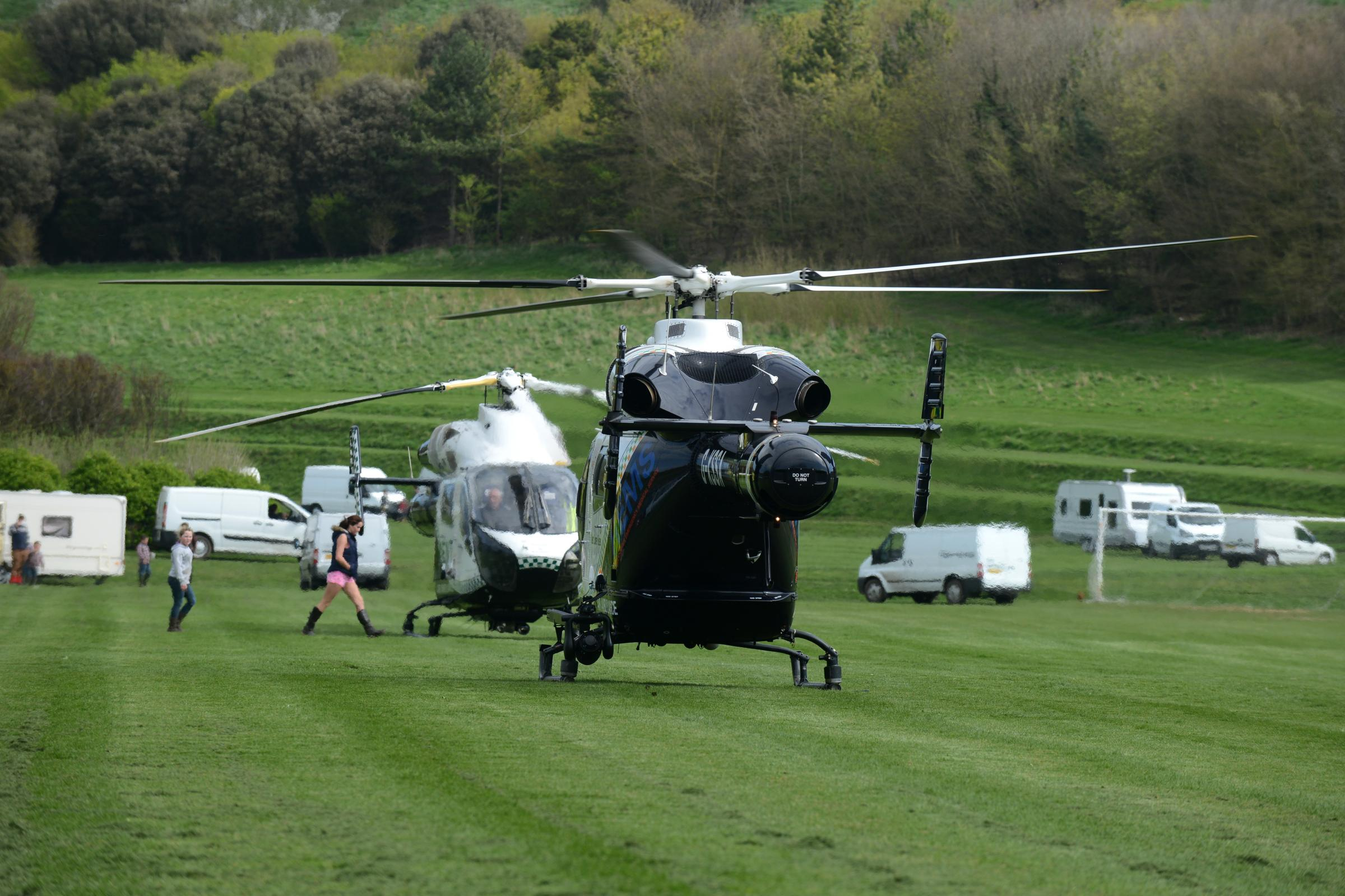 Travellers park on emergency air ambulance site