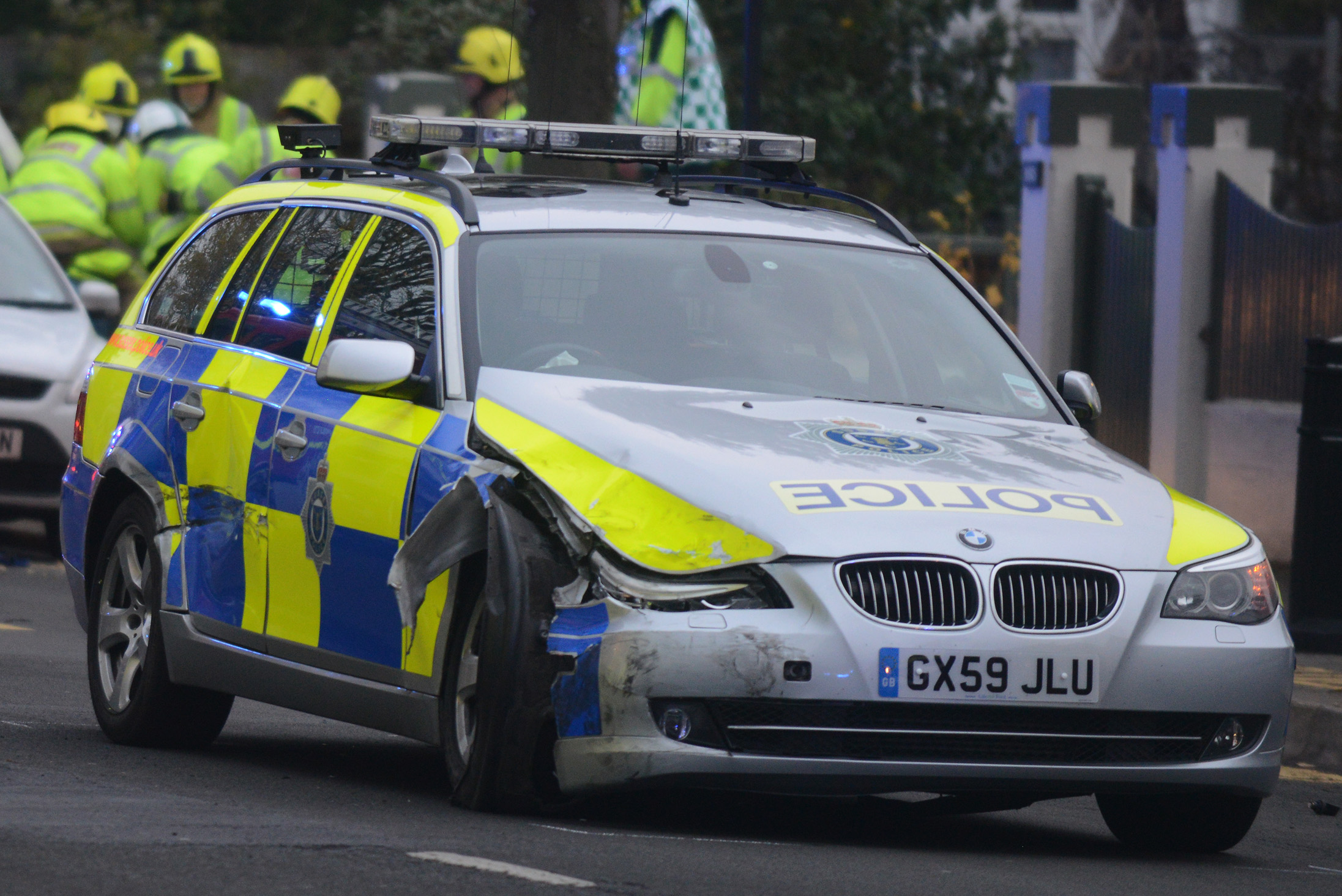A Sussex Police car after a crash in Hove last year