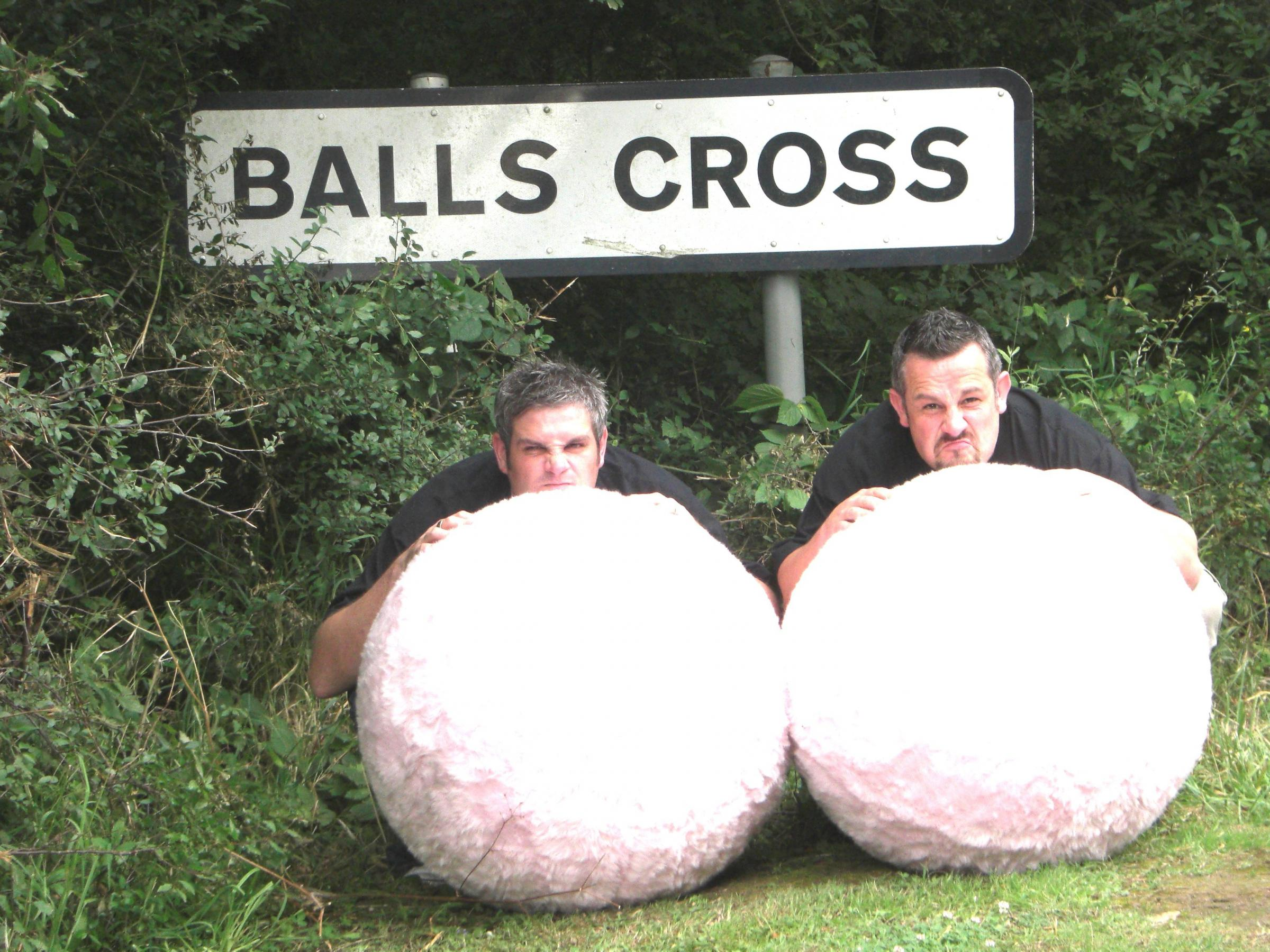 Darren Couchman and Richard Miller on a tour of rude placenames in 2008 to promote awareness of testicular cancer