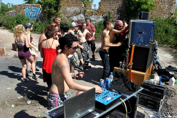 The Argus: A rave in a field off Ridge Road in Falmer in May 2012