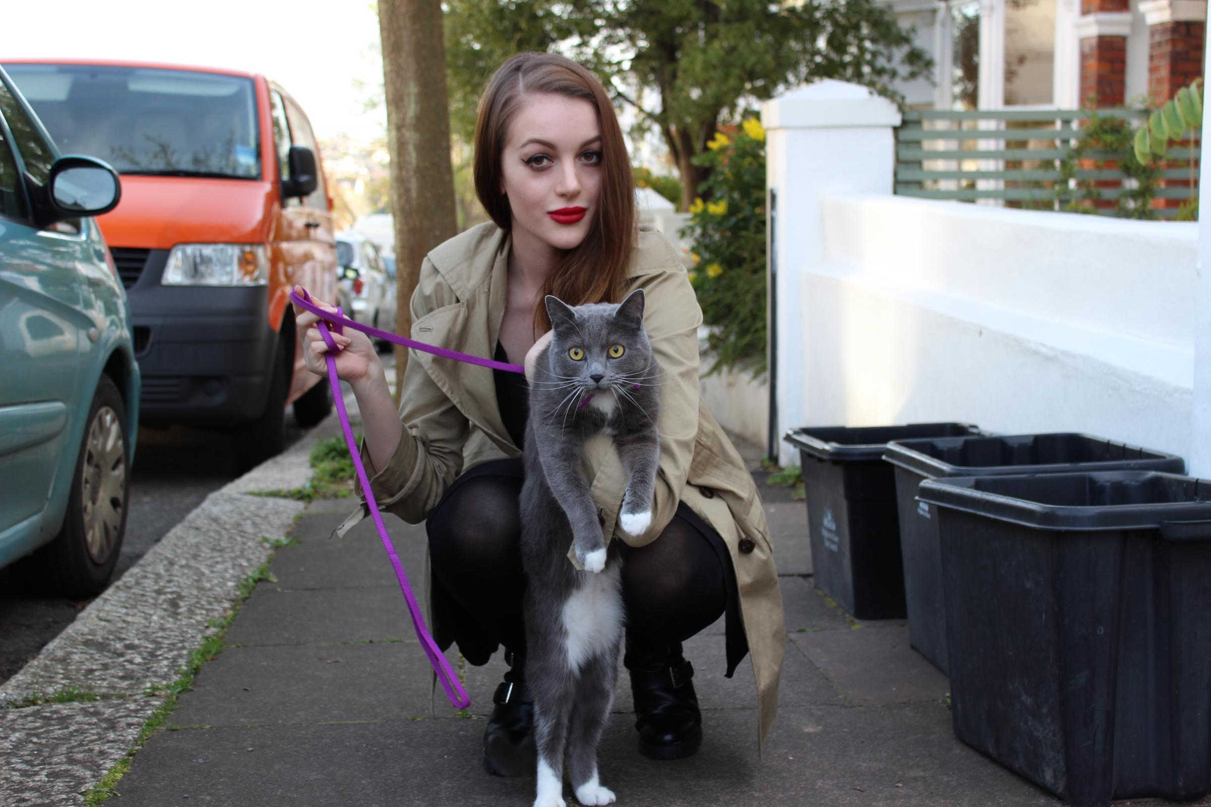 Walkies for Rosy and her pet cat Blue