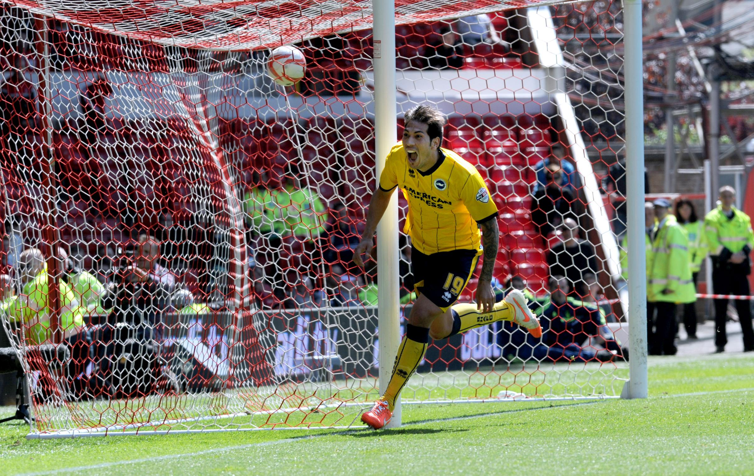 Leo Ulloa after scoring at Nottingham Forest on Saturday