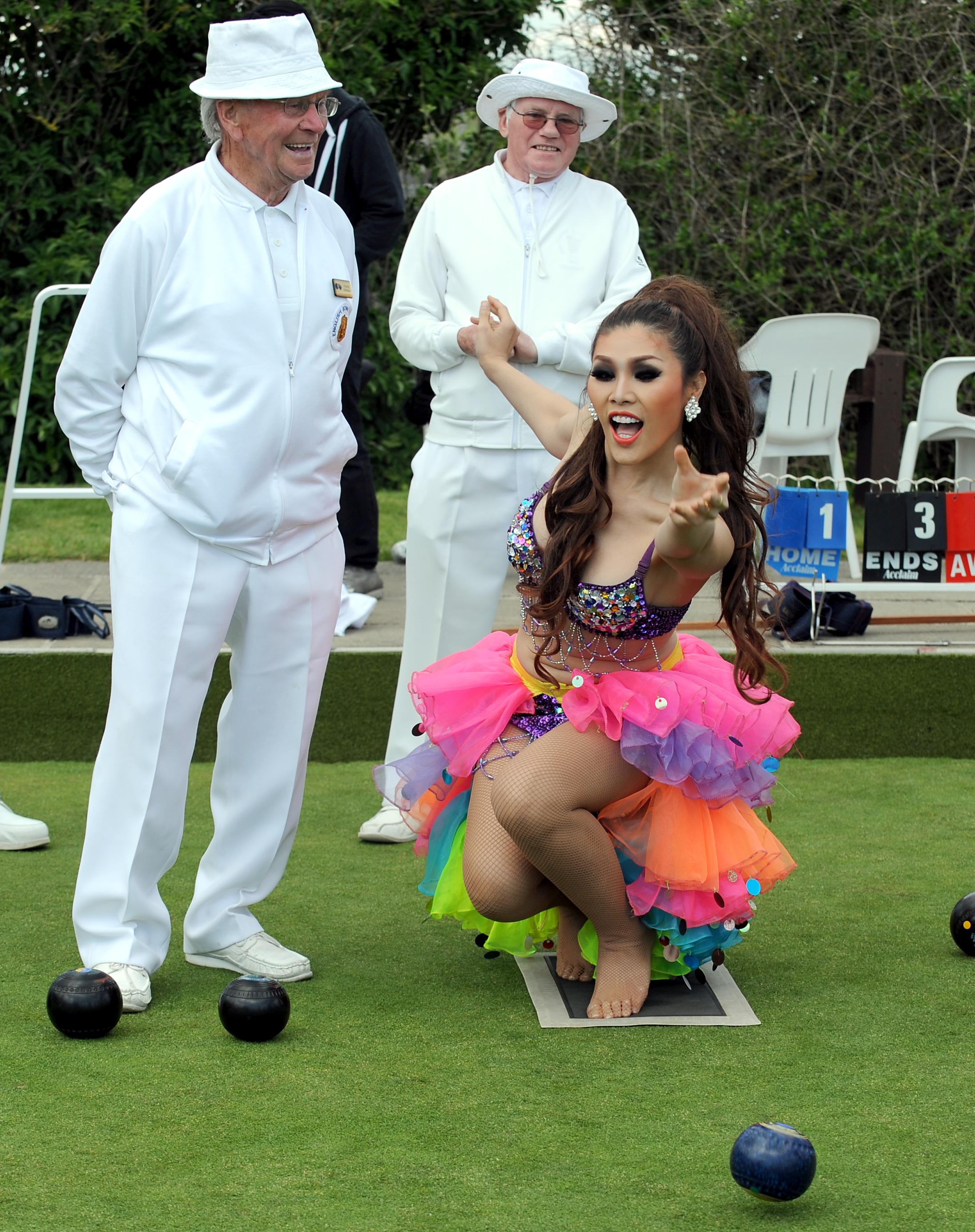 Lady Boys play bowls in teetering stilettos