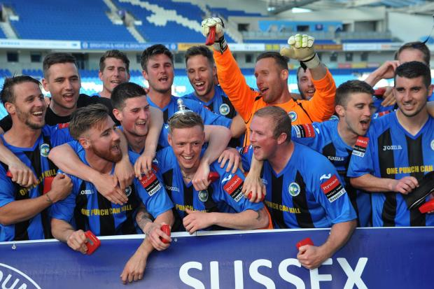 Peacehaven celebrate winning the Sussex Senior Cup