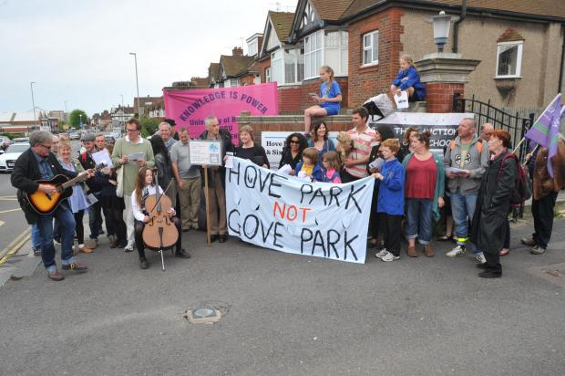 Pupils and parents gather for academy protest