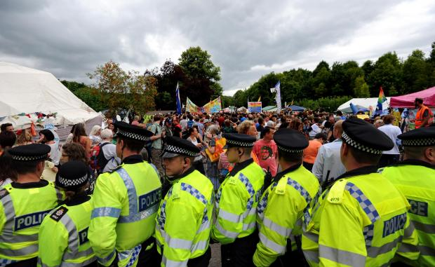 Police and protesters in Balcombe last year
