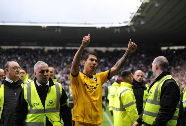 Leo Ulloa scored twice against Leicester at the King Power Stadium in April