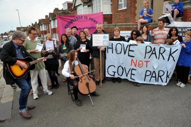 A demo against the academy plans earlier this month