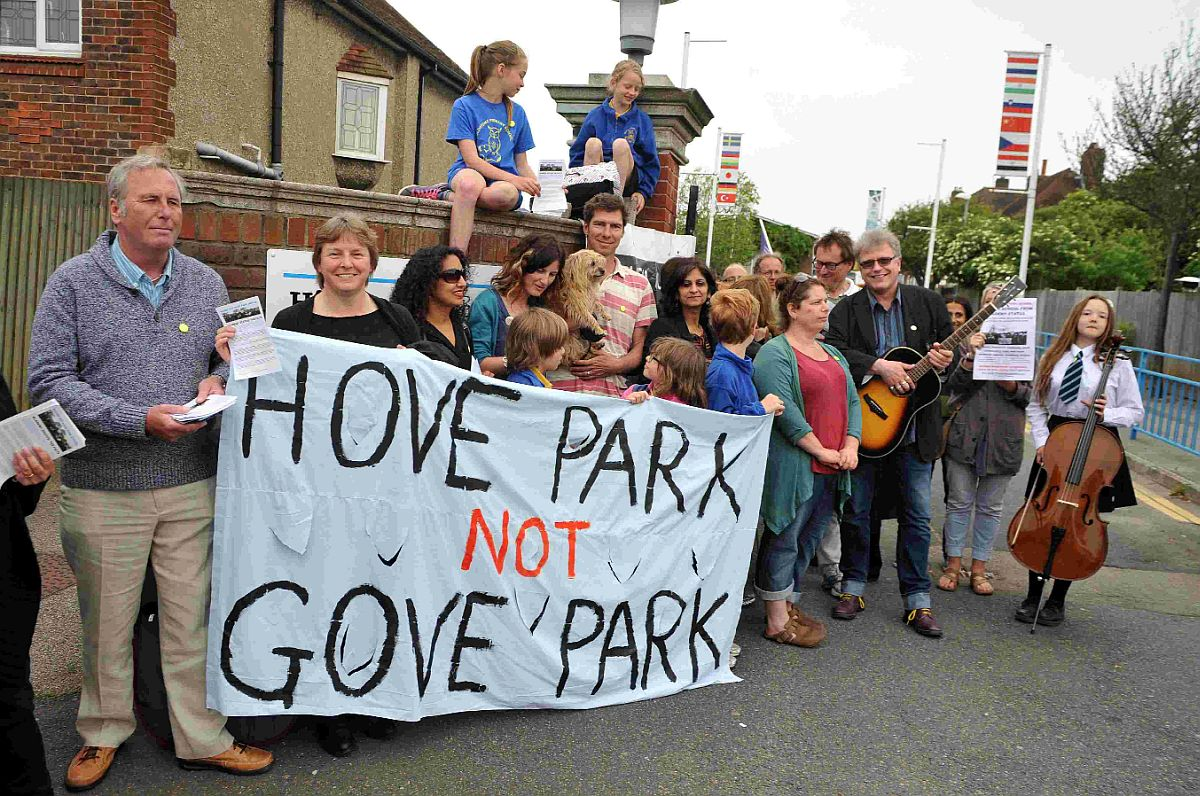Parents and pupils protest against the changes planned for Hove Park