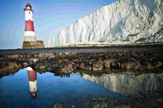 Beachy Head Lighthouse at low tide