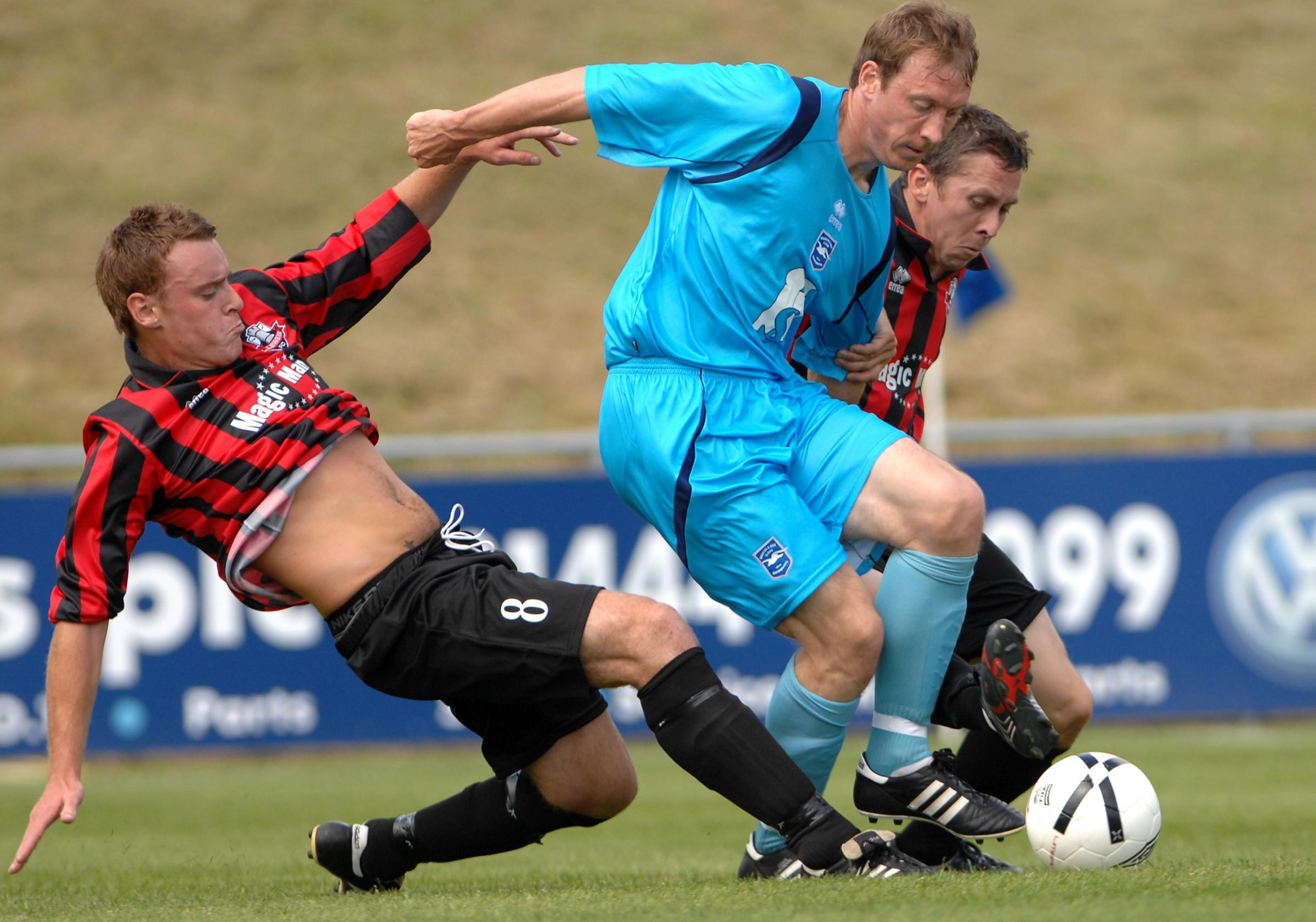 David Livermore is pre-season action at Lewes when Albion visited in 2008. They return in July.