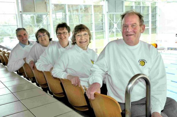 Sunbeam Swimming Club volunteers, from left, Nick Cutler, Maureen Butcher, Sarah Burling, Ann Grant and founder member Robin Ayres