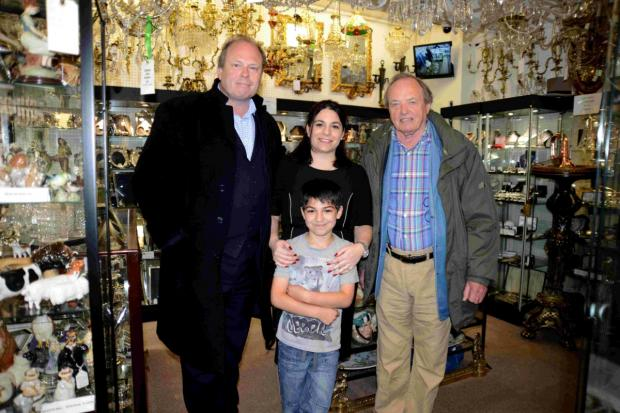 TV's James Bolan from New Tricks with Road Trip presenter, left, and shop owner Livia Brynin and her son Toby