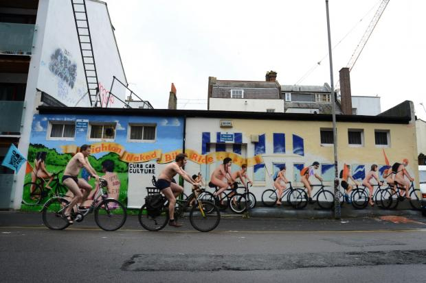 The Argus: Naked bike ride mural painted ahead of event