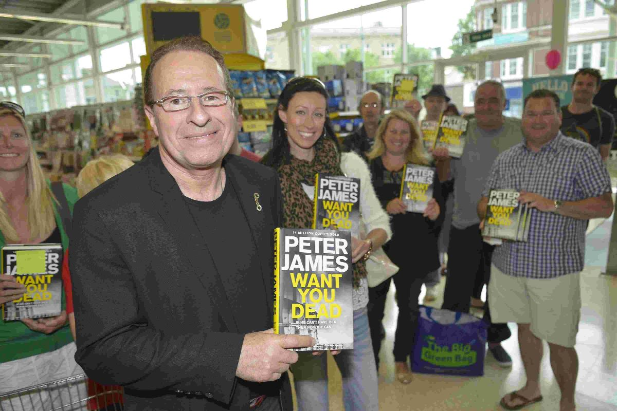 Peter James signs copies of his book at Hove Tesco