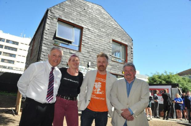 David Pendegrass of Mears, left, Cat Fletcher of Freegle, architect Duncan Baker-Brown and Councillor Bill Randall