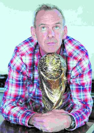 Fatboy holds lookalike World Cup trophy