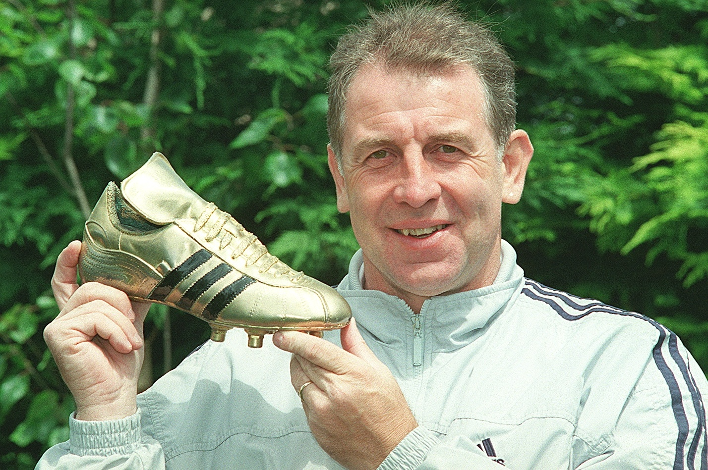 Gerry Armstrong with the golden boot he received as best British player at the 1982 World Cup