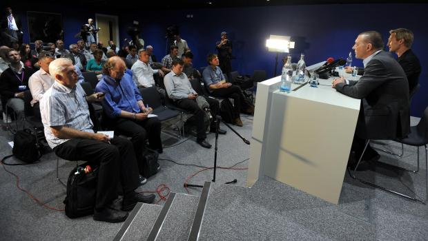 This was the scene at Albion's training ground today as Sami Hyypia spoke to the media