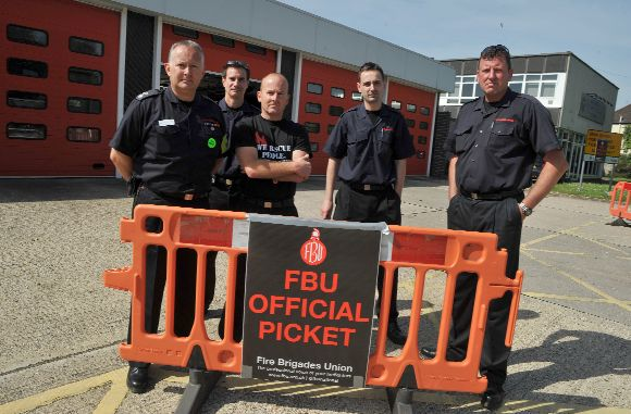 Sussex firefighters walk out in the first 24 hour strike of their campaign