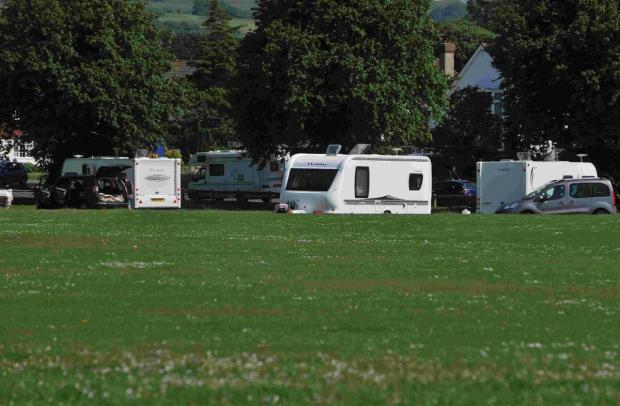 Travellers on Broadwater Green in Worthing in June this year