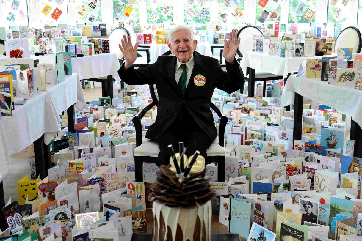 Bernard Jordan received 3,000 cards and presents for his 90th birthday