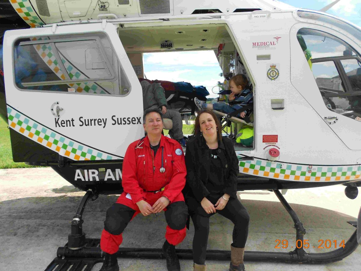 Liz James, who broke her neck in a car crash, with Air Ambulance doctor Simon Wood who saved her life