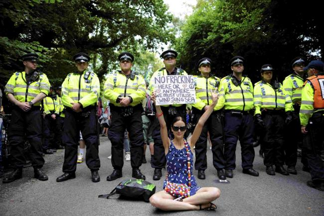 A fracking protest at Balcombe