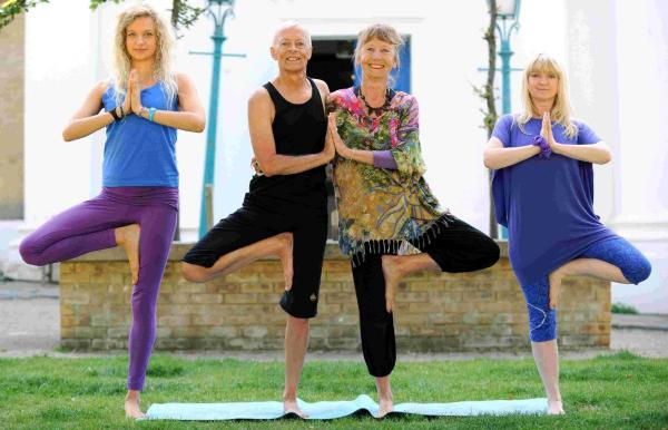 Students limber up for yoga fest