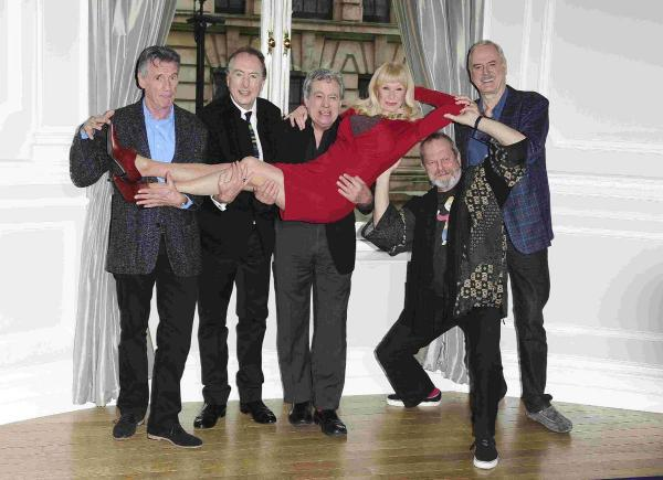 Carol Cleveland with Michael Palin, John Cleese, Eric Idle, Terry Gilliam and Terry Jones