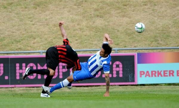 Leo Ulloa in action in the first half