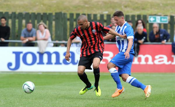 Elliott Romain in action for Lewes against Albion on Saturday. Picture by Simon Dack