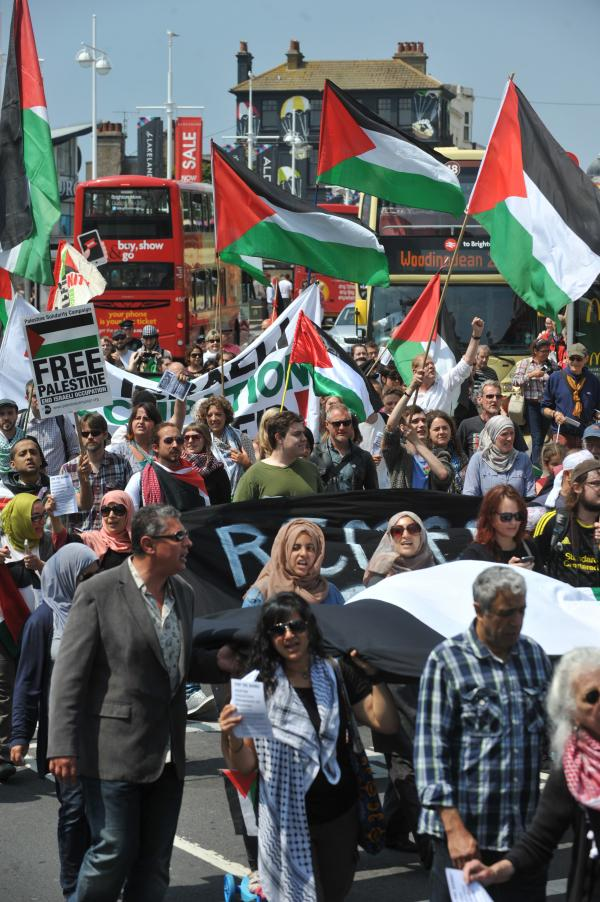 Palestine protest halts city centre traffic
