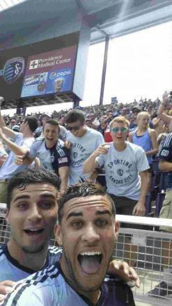 Dom Dwyer, right, took a selfie after scoring for Sporting Kansas City, with teammate Soony Saad.