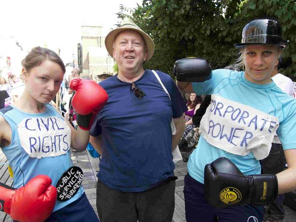 Saturday's boxing match protested a trade deal allowing corporations to sue governments