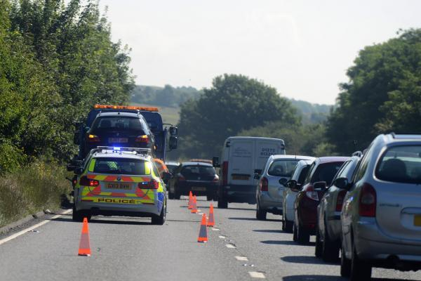 Police at the scene of the accident on the A27 at Lancing. Picture: Sam Stephenson