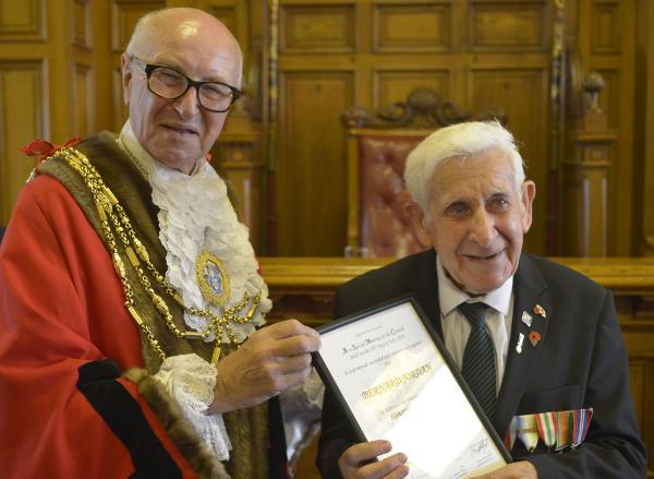 Bernard Jordan with Brighton Mayor Brian Fitch. Bernard has been made an honourary alderman of the city. Picture: Terry Applin	(TA17714C2)