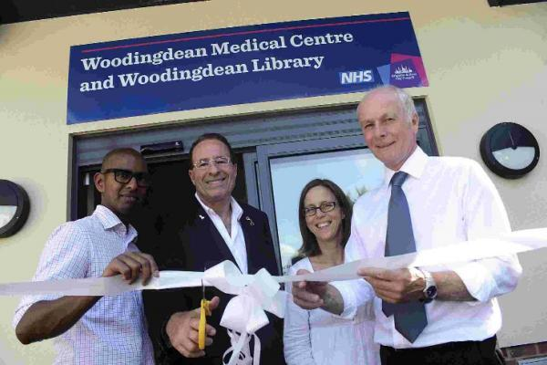 Peter James cuts the ribbon with surgery heads Darren Emilianos, Janet Wilson and Peter Sagar