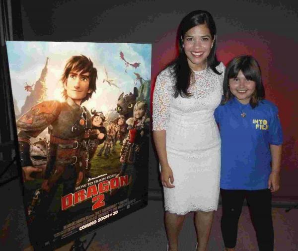 Olivia pictured with How To Train Your Dragon 2 star America Ferrera