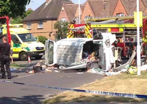 Van driver airlifted to hospital after crash