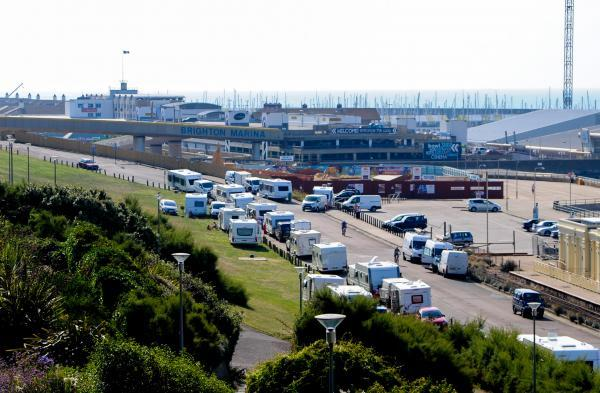 Travellers arrive at Black Rock in Brighton