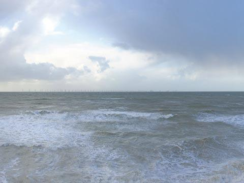 The view of the Rampion wind farm from Birling Gap