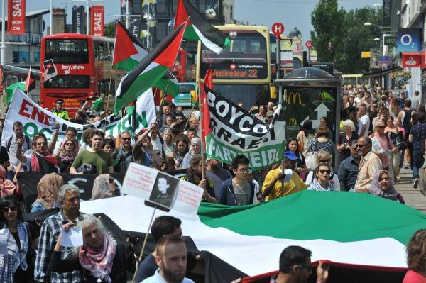 The Free-Palestine-demo in Brighton on July 12.