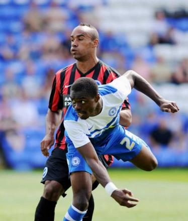 Chris O'Grady in action at Posh today (photo Simon Dack)