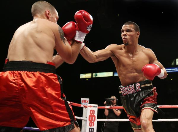 Chris Eubank Junior on the way to a quickfire  victory