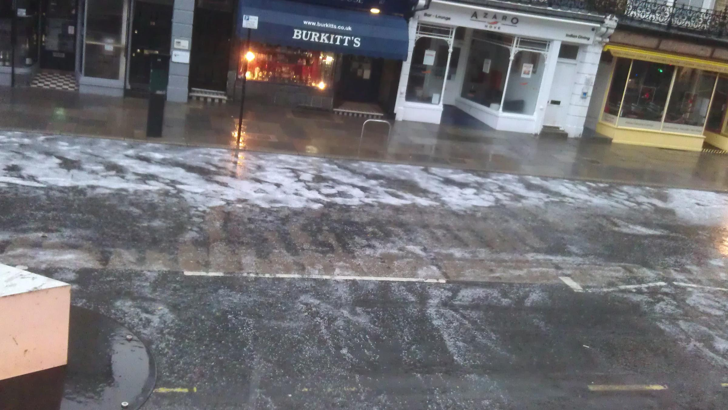 A hailstorm hits Church Road, Hove.  Picture: Gary Green