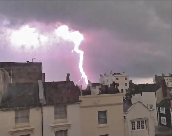 The storm flashing over Brighton - picture by Darrison