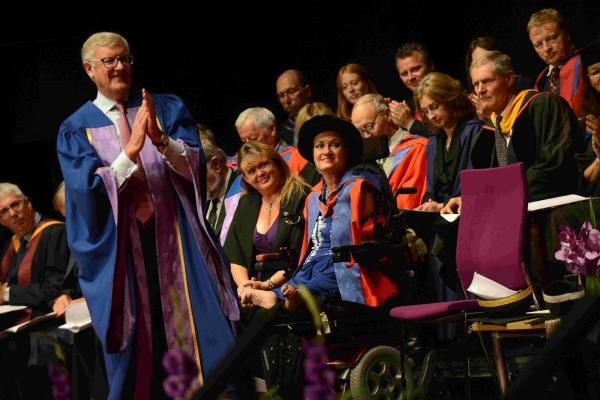 Alison Lapper receives a Doctor of Letters from Brighton Univerity during their graduations at Brighton Dome