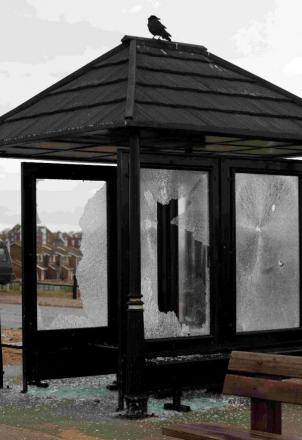 A vandalised seafront shelter on Seaford Beach